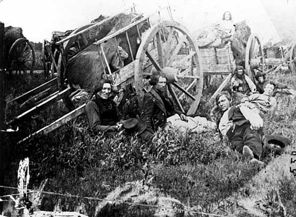 Metis and Red River carts, photo by B.F. Upton 1869