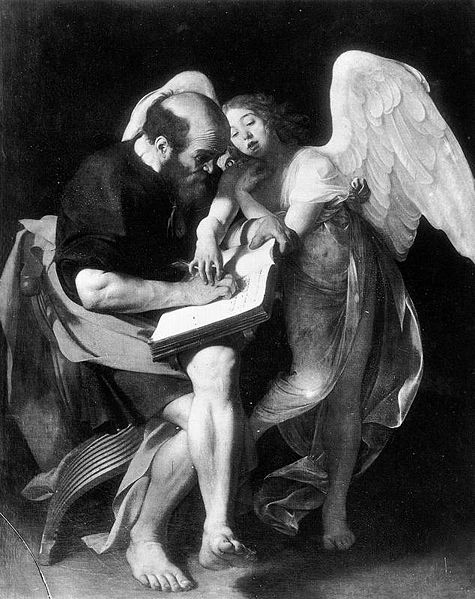 St Matthew and the Angel by Caravaggio 1602
