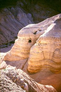 Qumran Caves where scrolls were found, photo by Grauesel, click to see large